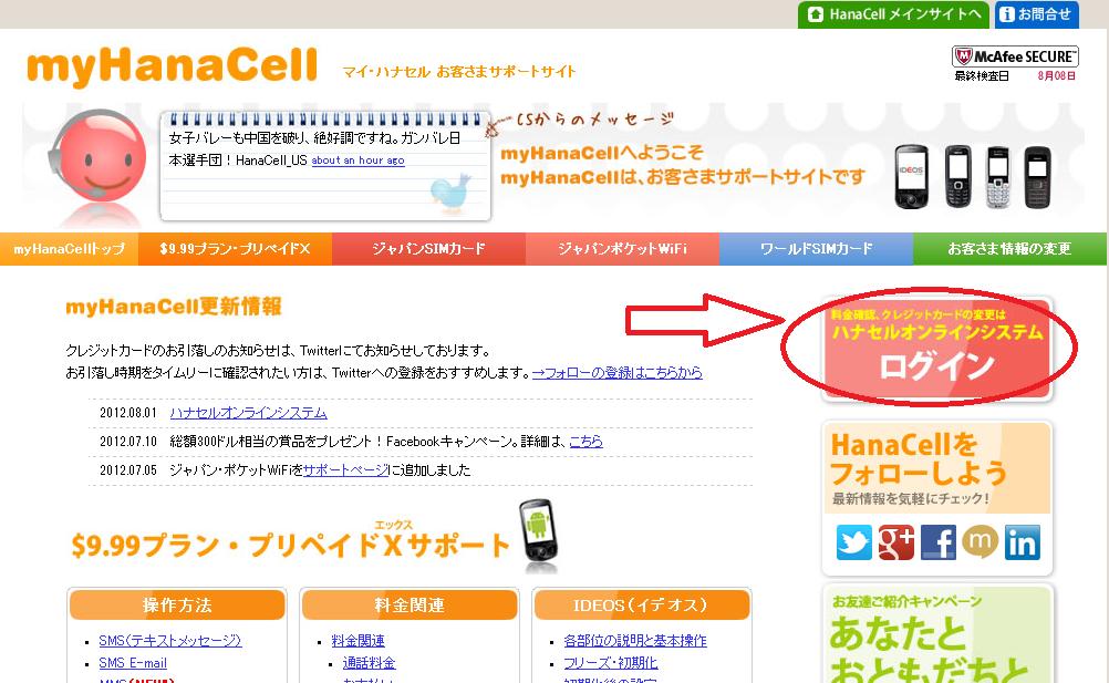 My HanaCellログインボタン